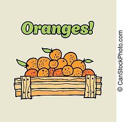 oranges in wooden box. food hand drawn sketch vector illustration.
