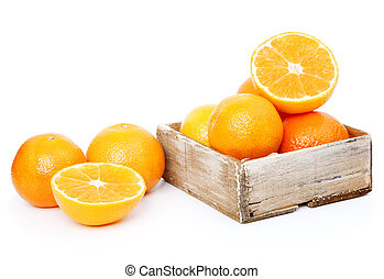 oranges in wooden box