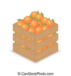 Oranges in wooden crate