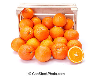 Oranges in wooden crate