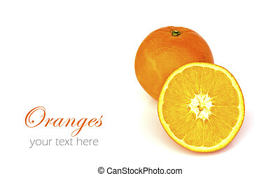 Oranges isolated on white background with copy space.
