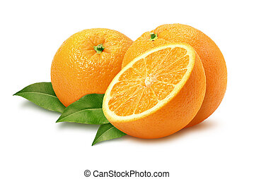Oranges & Leaves isolated with a clipping path