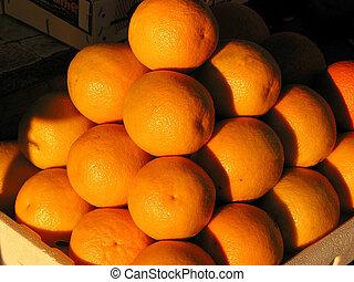 oranges, marché