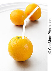 Oranges on a silver tray