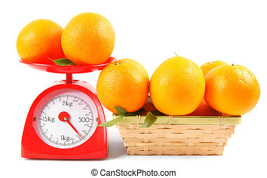 Oranges on scales and in a basket