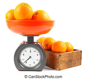 Oranges on scales and in a box