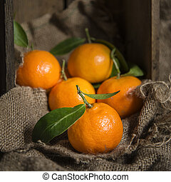 Oranges on stalk in rustic kitchen setting with old wooden...
