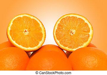 Oranges on the gradient background
