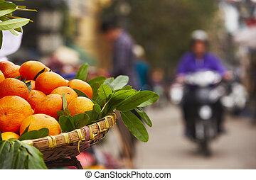 Oranges on the street market