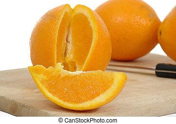 Oranges over white