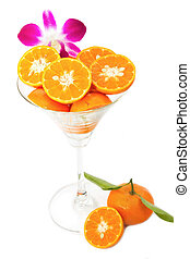 Oranges slice in cocktails glass on white background