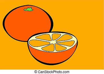 Oranges - oranges in simple but bold drawing style