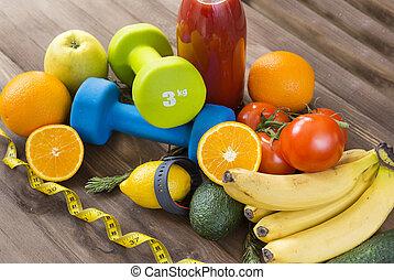 oranges, tomato juice, Apple, pear, tomatoes, avocado, cucumber, bananas, fruits, vegetables, juice, rosemary, centimetre tape, measuring tape, dumbbells, tomato juice bottle