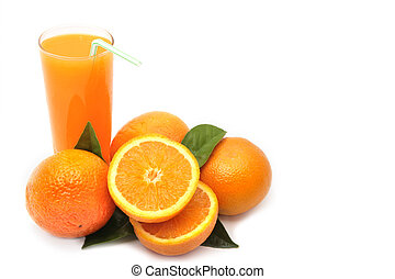 Oranges with green leaves and glass of juice on a white background