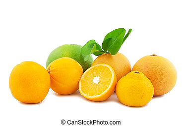 Oranges with leaves on a white background