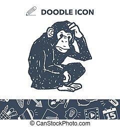 orangutan, 猴子, 心不在焉地亂寫亂畫