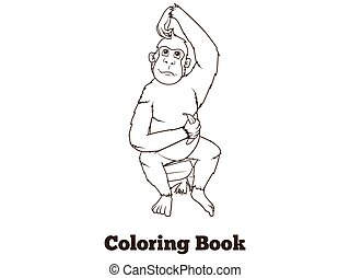 Orangutan cartoon coloring book vector
