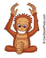 orangutan cartoon illustration for kids.