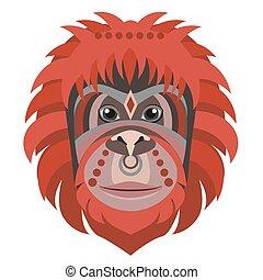 Orangutan head Logo. Monkey Vector decorative emblem illustration.