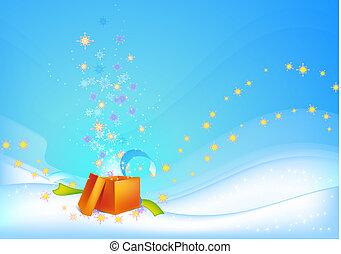 oranje achtergrond, kerstkado
