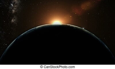 oranje zonsopgang, op, aarde