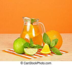oranjekleurige drank, citrus, munt, en, gestreepte