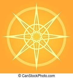 oranjekleurige zon, illustratie
