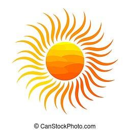 oranjekleurige zon, illustration.