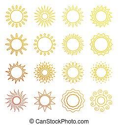oranjekleurige zon, lijn, iconen
