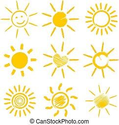 oranjekleurige zon, set, iconen