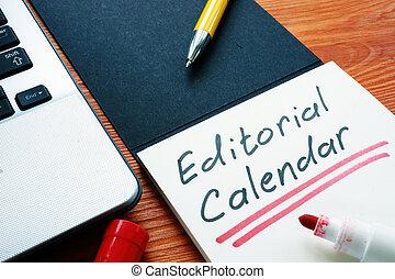 orario, notebook., editoriale, o, pubblicazione, contenuto, calendario