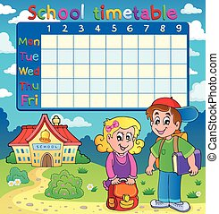 orario, scuola, due bambini