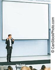 orateur, à, conférence affaires