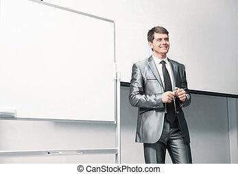 orateur, à, conférence affaires, et, présentation, conseils, pour, soumission