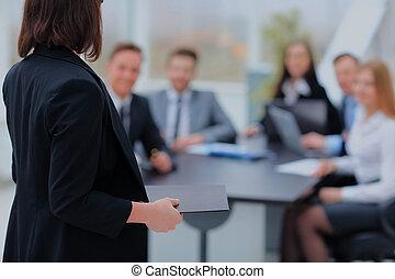 orateur, à, conférence affaires, et, presentation.