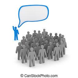 orateur, gens, devant, parle