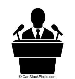 orateur, orateur, tribune, noir, icon., parler