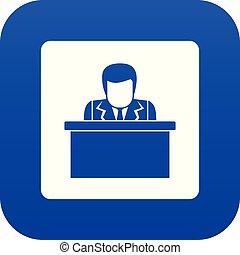 orateur, parler, depuis, tribune, icône, numérique, bleu