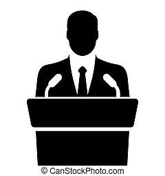 orateur, parler, depuis, tribune, vecteur, illustration
