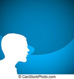 orateur, résumé, silhouette