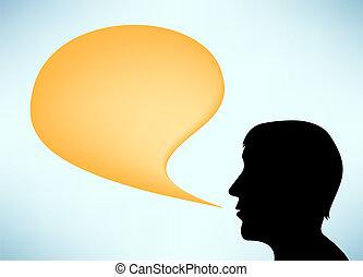 orateur, résumé, silhouette, homme