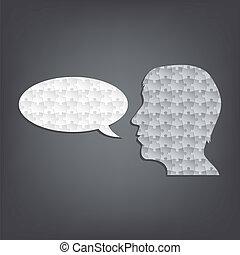 orateur, résumé, silhouette, puzzle, homme