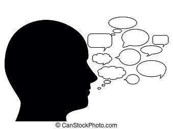 orateur, silhouette, résumé