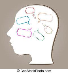 orateur, tête, bulles, silhouette, résumé