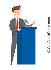 orateur, tribune, parler