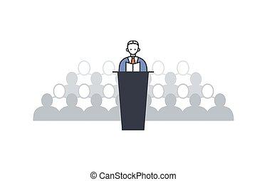 orateur, tribune, parler, fond