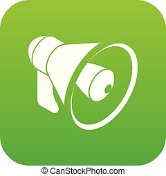 orateur, vecteur, vert, main, icône