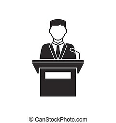 Orator speaking from tribune icon on white background