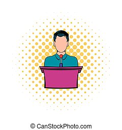 Orator speaking from tribune icon, comics style - Orator...