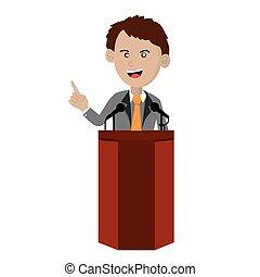 Orator Standing On Podium.
